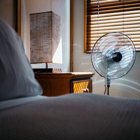 Standing fans in bedrooms upstairs